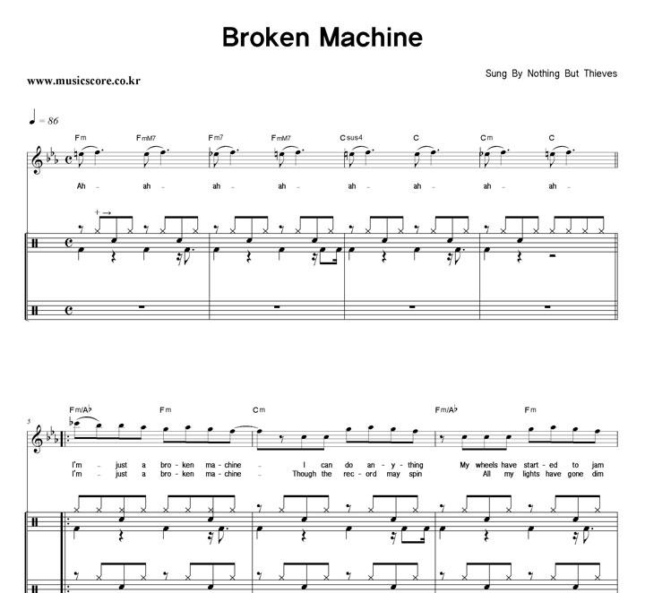 Nothing But Thieves Broken Machine 밴드 드럼 악보 샘플