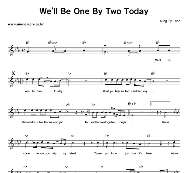 Lobo We'll Be One By Two Today 악보 샘플