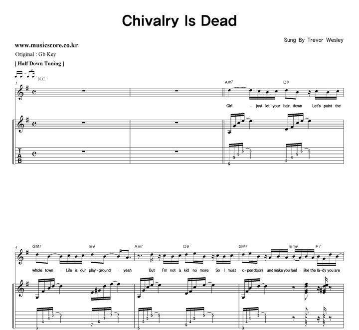 Trevor Wesley Chivalry Is Dead 밴드  G키 기타 타브 악보 샘플