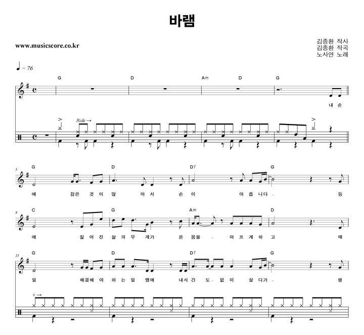 노사연 바램 밴드 드럼 악보 샘플
