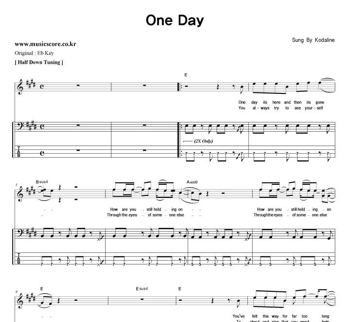 Kodaline One Day 밴드  E키 베이스 타브 악보 샘플