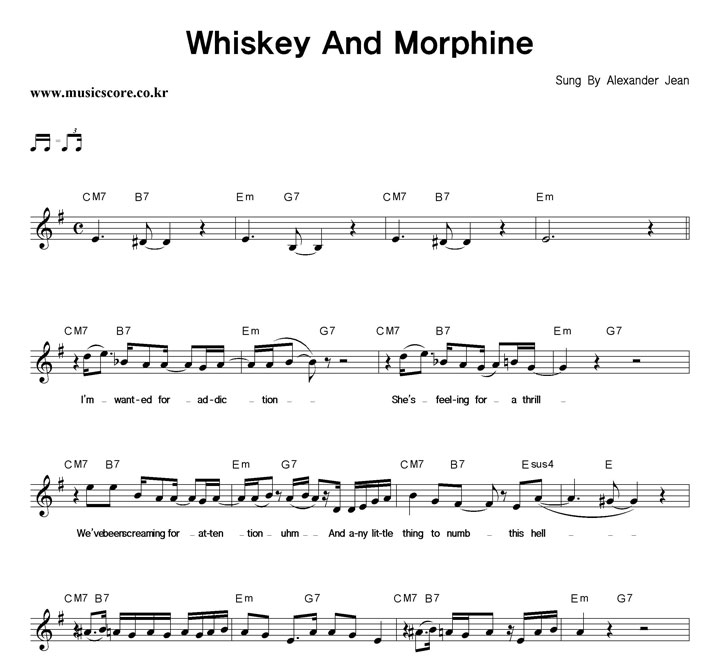 Alexander Jean Whiskey And Morphine 악보 샘플