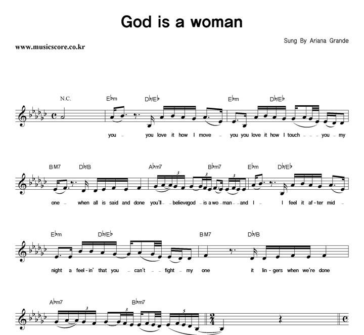 Ariana Grande God Is A Woman 악보 샘플