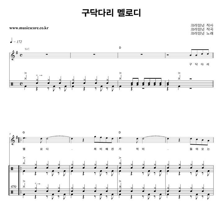 크라잉넛 구닥다리 멜로디 밴드 드럼 악보 샘플