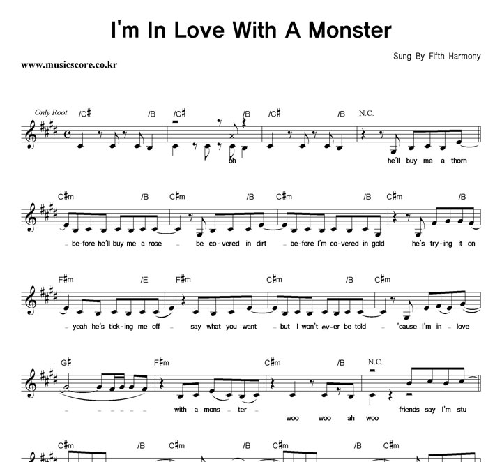 Fifth Harmony I'm In Love With A Monster 악보 샘플