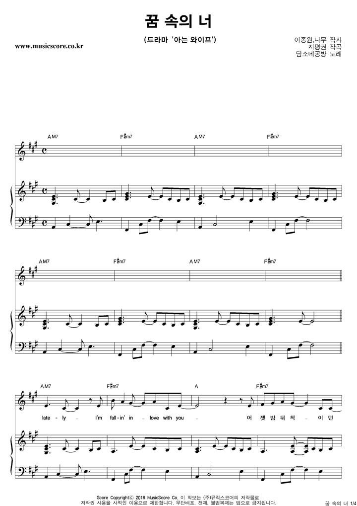 담소네공방 꿈 속의 너 피아노 악보 샘플