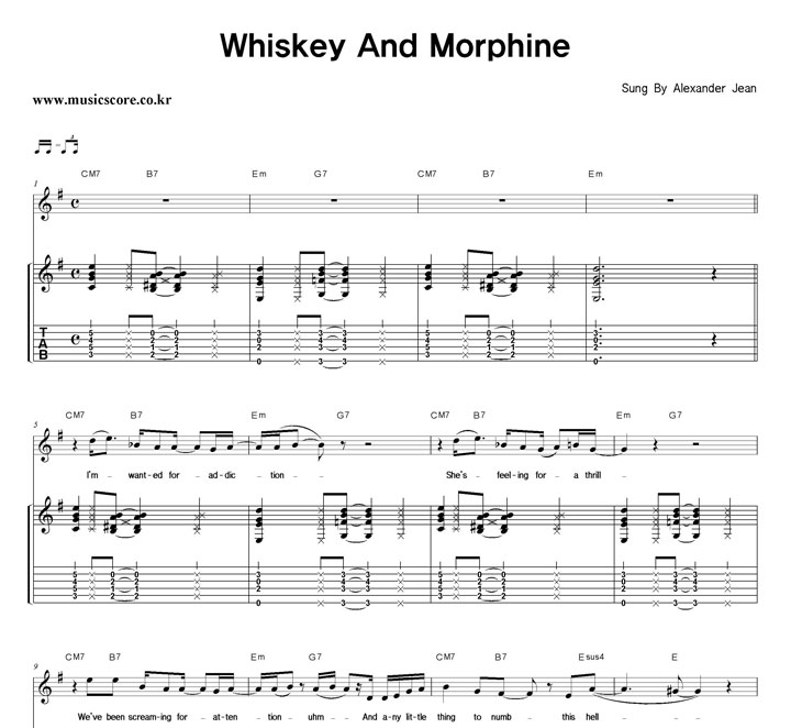 Alexander Jean Whiskey And Morphine 기타 타브 악보 샘플