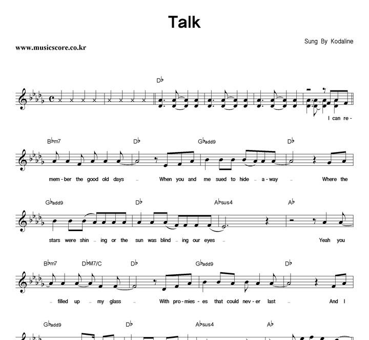 Kodaline Talk 악보 샘플