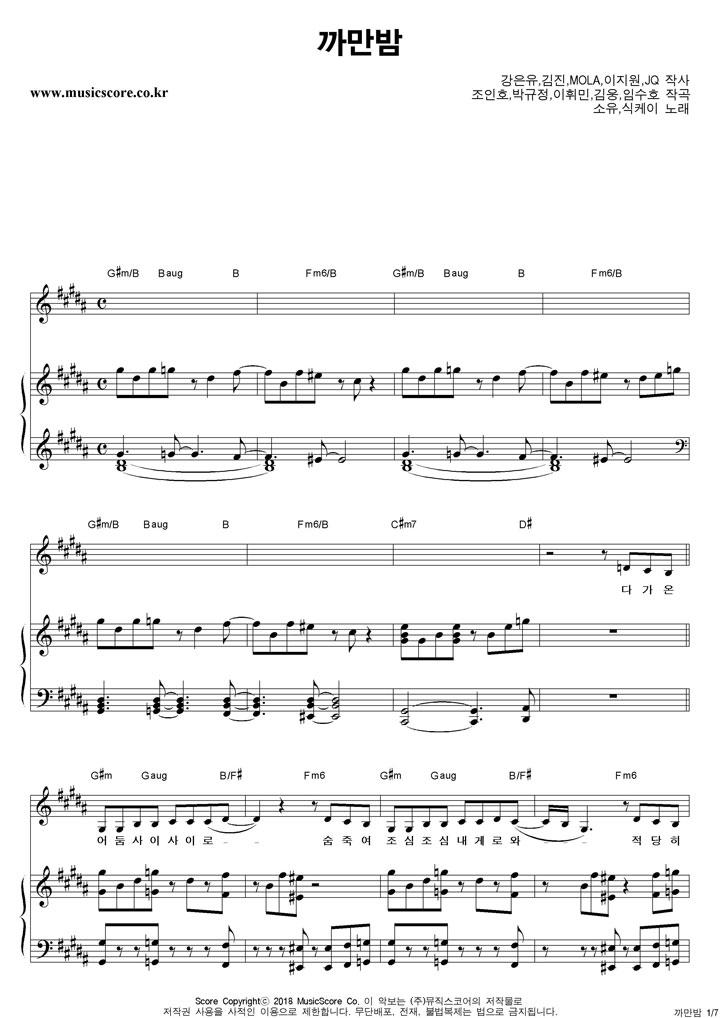 소유,식케이 까만밤 피아노 악보 샘플