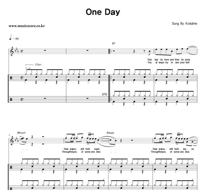 Kodaline One Day 밴드 드럼 악보 샘플