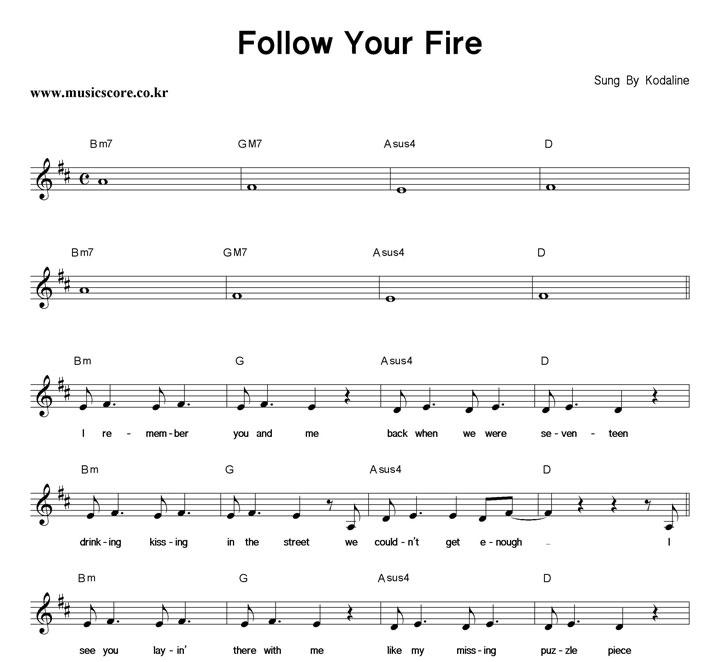 Kodaline Follow Your Fire 악보 샘플