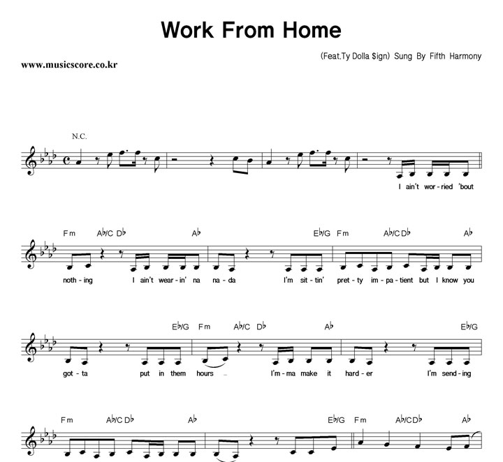 Fifth Harmony Work From Home 악보 샘플