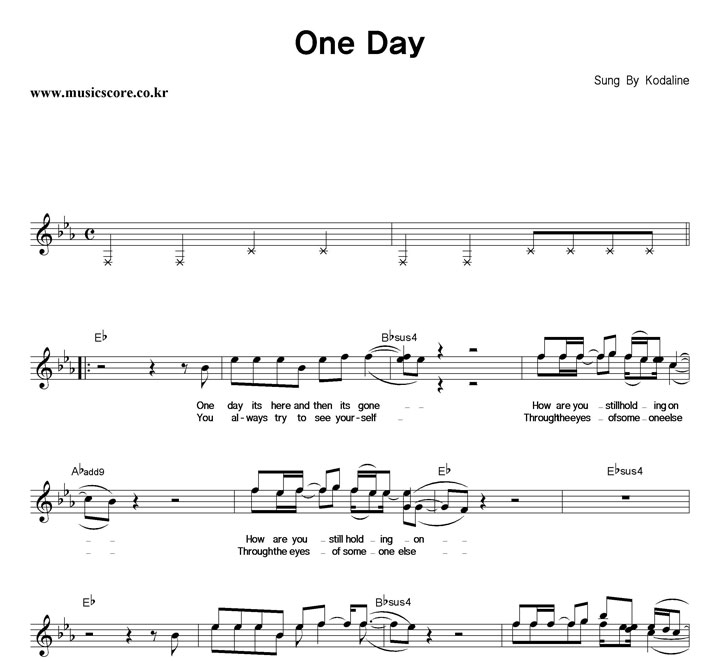 Kodaline One Day 악보 샘플