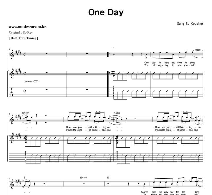 Kodaline One Day 밴드  E키 기타 타브 악보 샘플