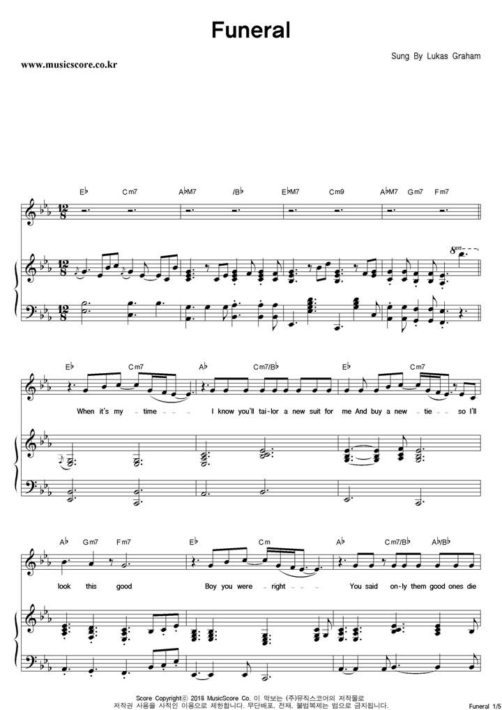 Lukas Graham Funeral 피아노 악보 샘플