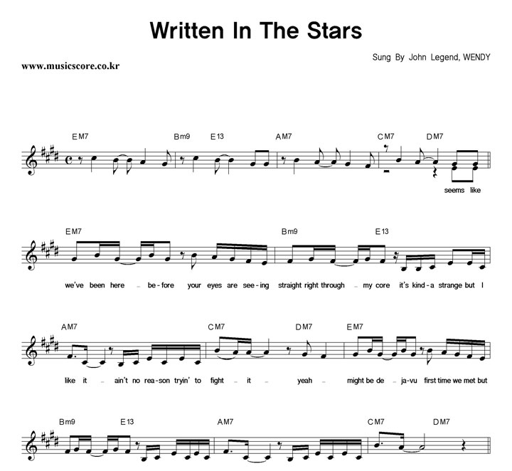 John Legend,WENDY Written In The Stars 악보 샘플