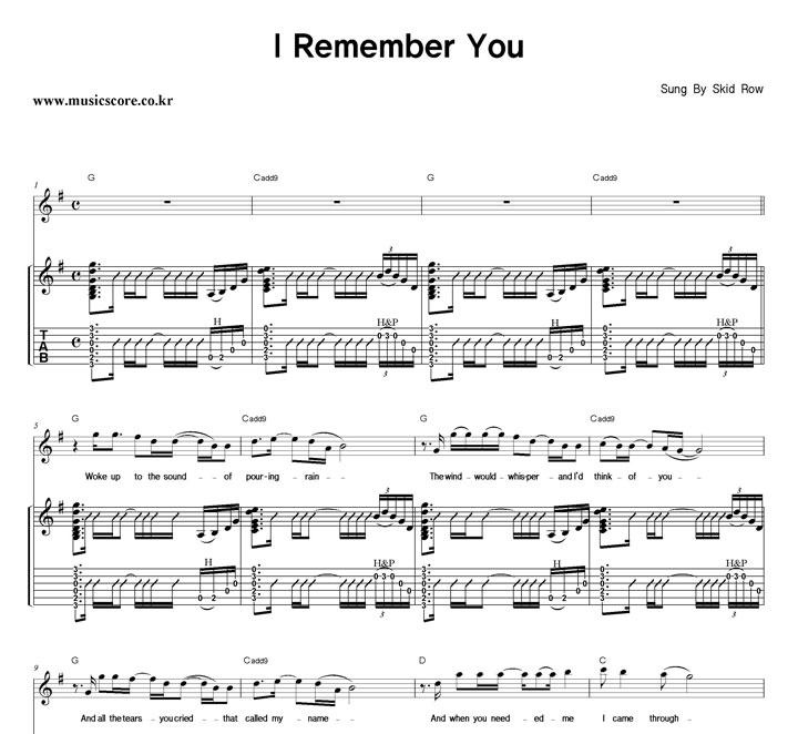 Skid Row I Remember You 밴드 기타 타브 악보 샘플