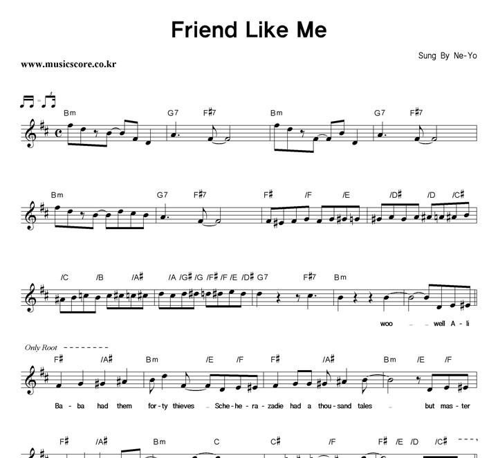 Ne-Yo Friend Like Me 악보 샘플