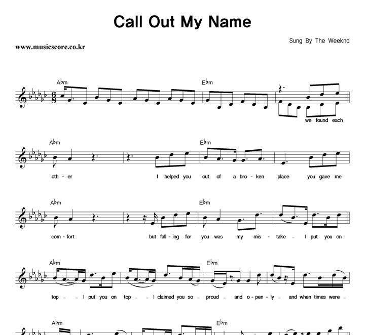 The Weeknd Call Out My Name 악보 샘플