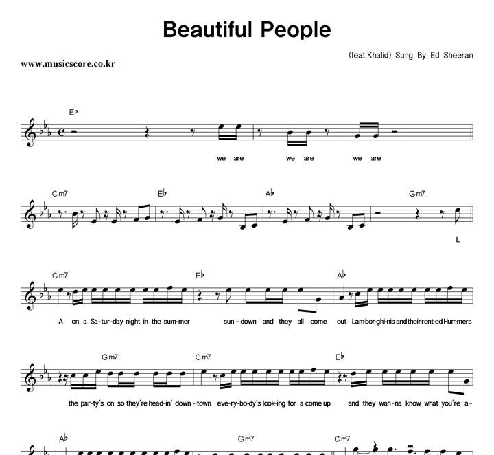 Ed Sheeran Beautiful People 악보 샘플