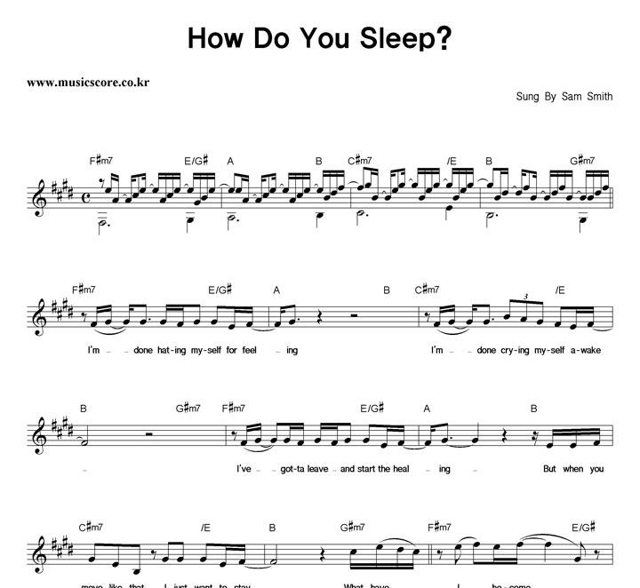 Sam Smith How Do You Sleep? 악보 샘플