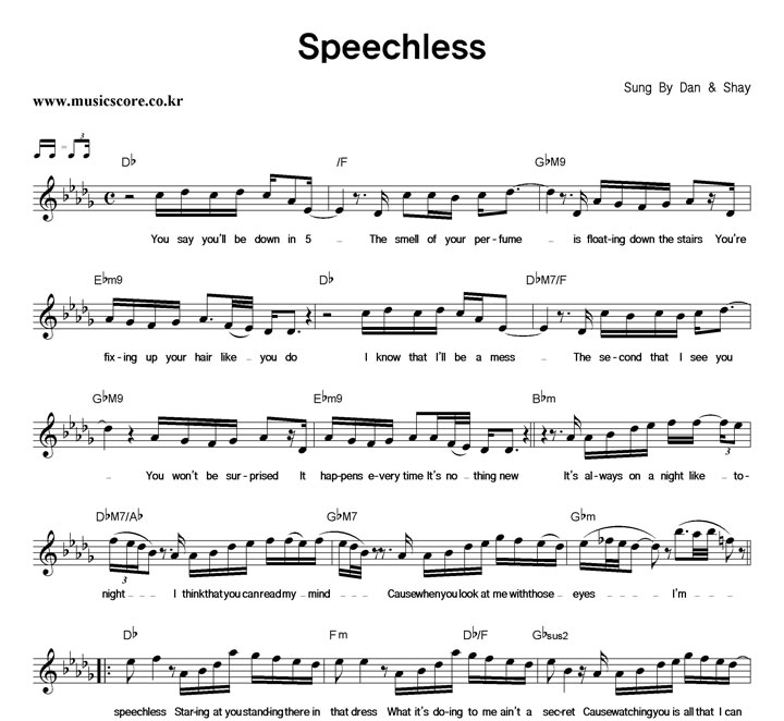 Dan Shay Speechless: Dan & Shay Speechless 악보 : 악보가게