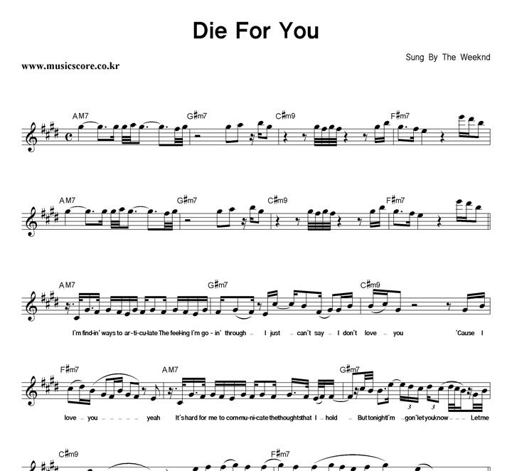 The Weeknd Die For You 악보 샘플
