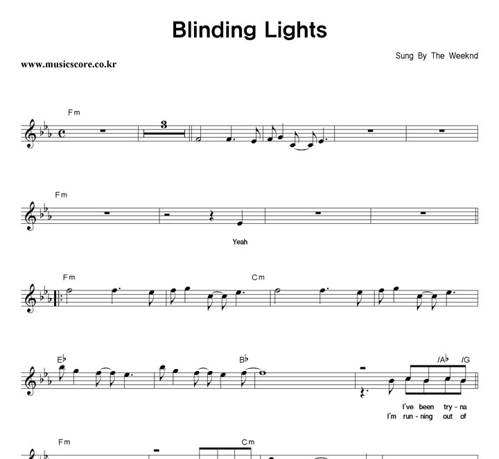 The Weeknd Blinding Lights 악보 샘플