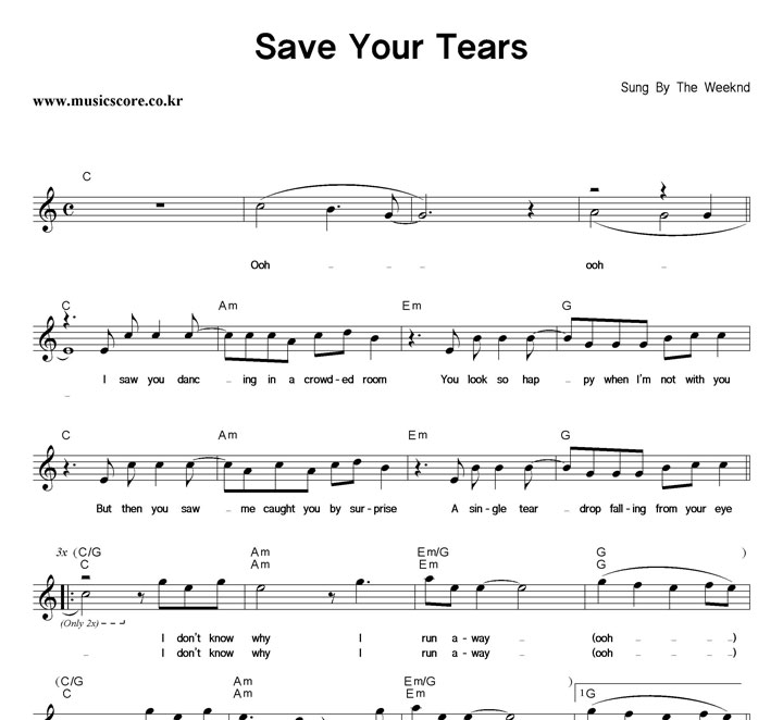 The Weeknd Save Your Tears 악보 샘플