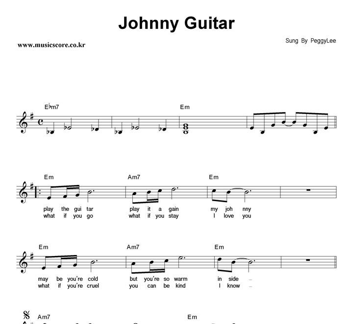 Nessun Dorma Lyrics Sheet Music: 악보가게 : Peggy Lee Johnny Guitar 악보