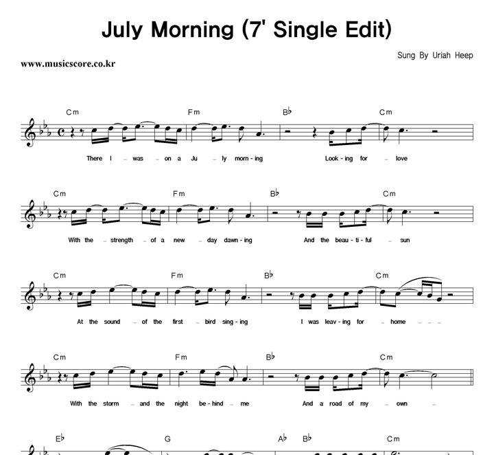 Uriah Heep July Morning (7' Single Edit) 악보 샘플
