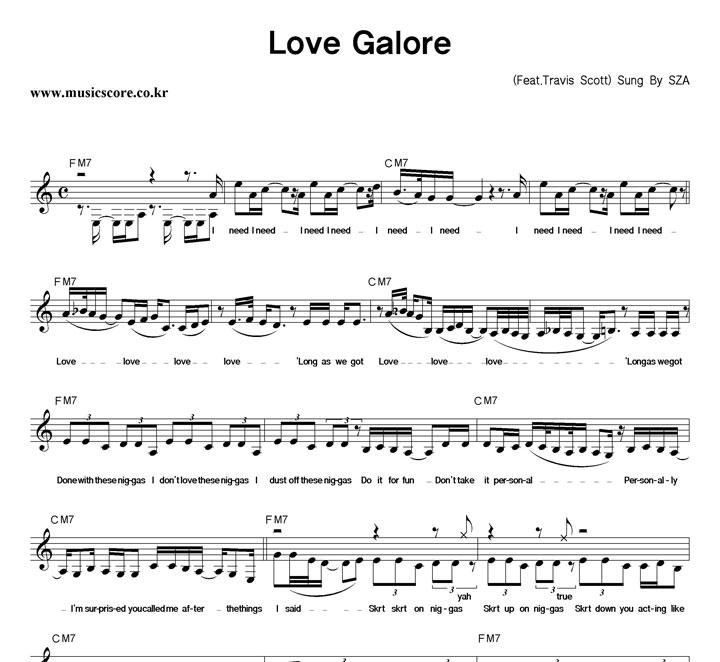 SZA Love Galore 악보 샘플