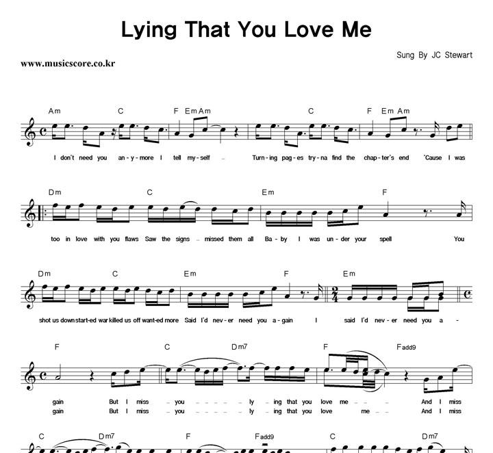 JC Stewart Lying That You Love Me 악보 샘플