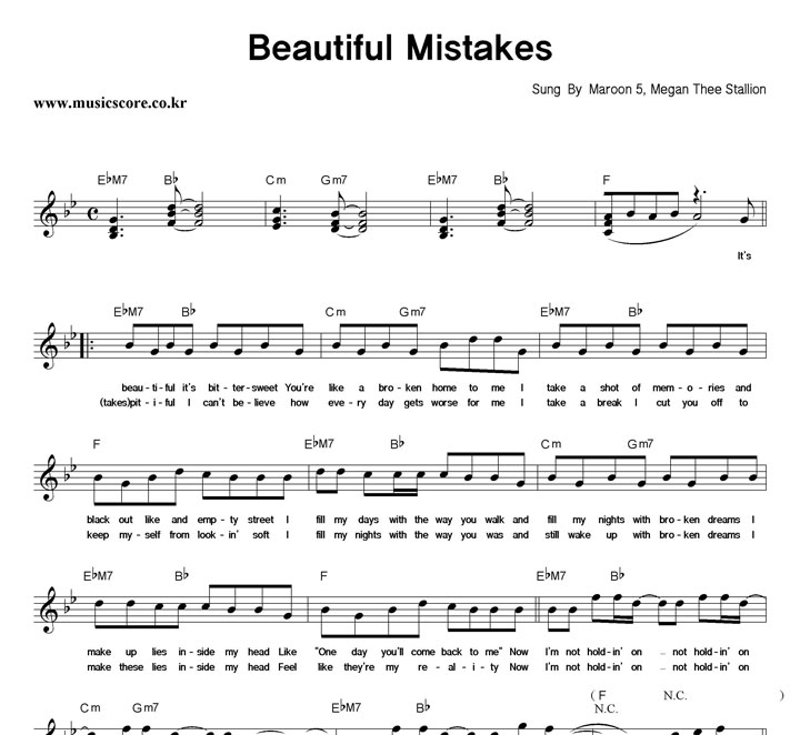 Maroon5, Megan Thee Stallion Beautiful Mistakes 악보 샘플