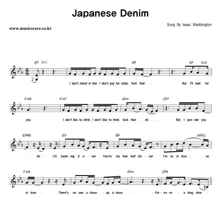 Isaac Waddington Japanese Denim 악보 샘플