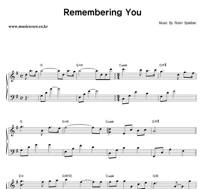 Robin Spielberg Remembering You 피아노 악보 샘플