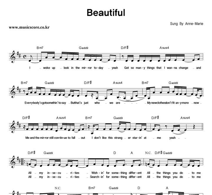 Anne-Marie Beautiful 악보 샘플