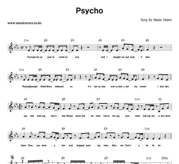 Maisie Peters Psycho 악보 샘플