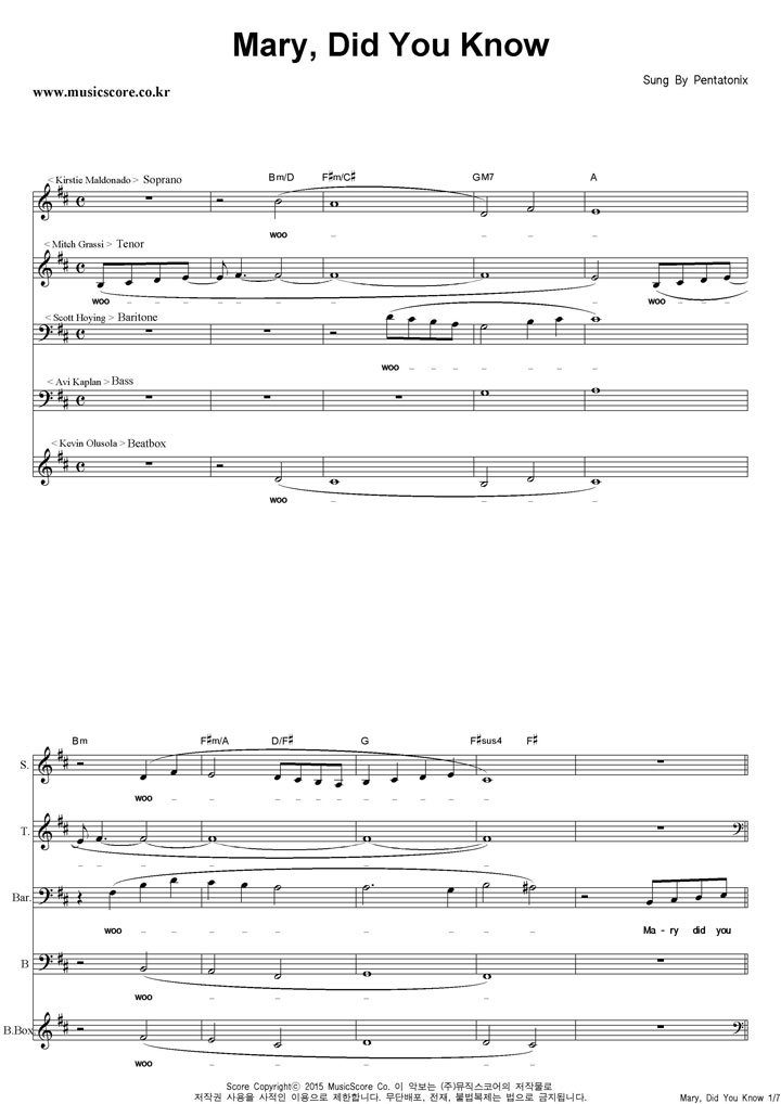 All Music Chords mary did you know sheet music free : Pentatonix - Mary,Did You Know 아카펠라 악보
