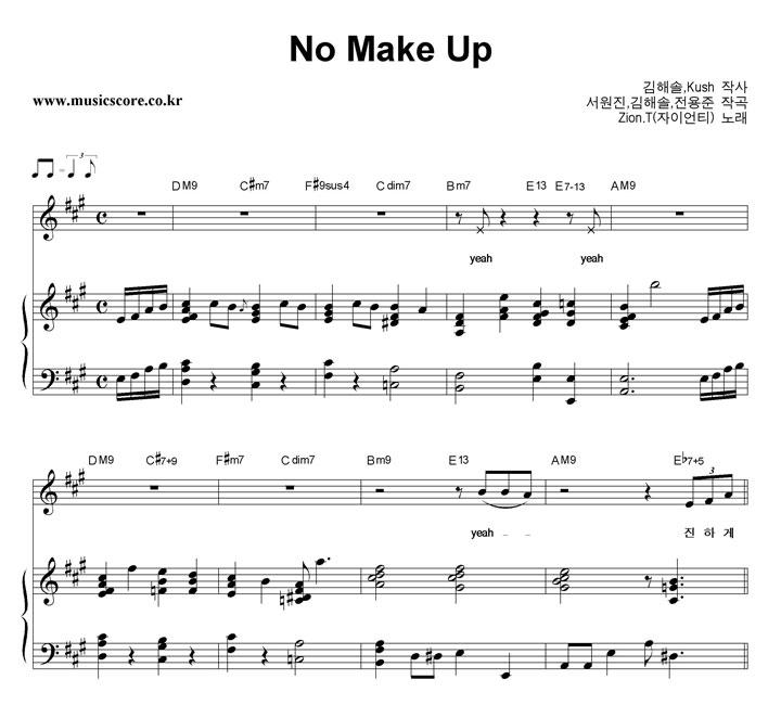 No Makeup Zion T Piano Sheet